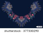 neck line embroidery designs | Shutterstock .eps vector #377330290
