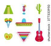 Vector Bright Mexican Flat Set...