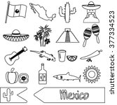 mexico country theme symbols... | Shutterstock .eps vector #377334523
