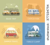 rv travel concept set. camping... | Shutterstock .eps vector #377334754