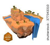 floating island with a rock... | Shutterstock .eps vector #377343310