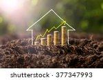 money growing in soil with... | Shutterstock . vector #377347993