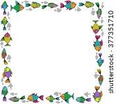 comic cartoon square fish frame.... | Shutterstock .eps vector #377351710