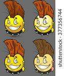 punk style emoji smiley emoticon | Shutterstock .eps vector #377356744