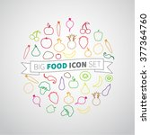 set of flat icons of fruits and ...