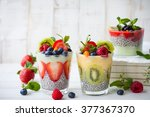 layered berry and chia seeds... | Shutterstock . vector #377367370