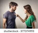 Stock photo couple in a fight 377374993