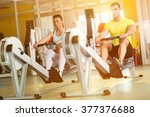 fit  couple on row machine in... | Shutterstock . vector #377376688