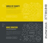 banner template with charity... | Shutterstock .eps vector #377381848