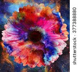 space and stars with flower ... | Shutterstock . vector #377388880