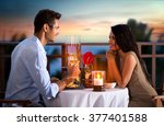 happy couple on summer evening... | Shutterstock . vector #377401588