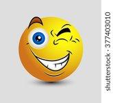 naughty eye blink emoticon... | Shutterstock .eps vector #377403010