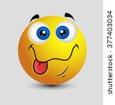 cute tongue out dumb smiley face | Shutterstock .eps vector #377403034