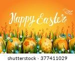happy easter vector card.... | Shutterstock .eps vector #377411029