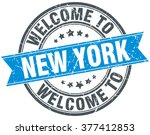 welcome to new york blue round...   Shutterstock .eps vector #377412853