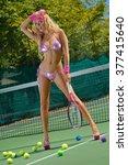 sexy tennis girl  | Shutterstock . vector #377415640
