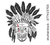 handmade drawning skull with...   Shutterstock .eps vector #377415703