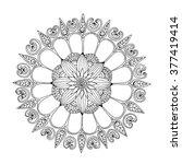 floral zentangle rosette ... | Shutterstock .eps vector #377419414