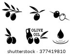 set of black isolated olive... | Shutterstock .eps vector #377419810