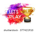 golden trophy with stylish text ... | Shutterstock .eps vector #377421910