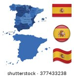 high detailed map of spain with ... | Shutterstock .eps vector #377433238