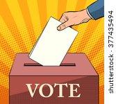 voter ballot box politics... | Shutterstock .eps vector #377435494