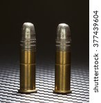 Small photo of Rimfire cartridges for a twenty two topped with lead bullets