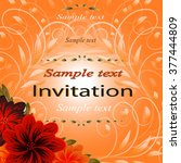 invitation or wedding card with ... | Shutterstock .eps vector #377444809