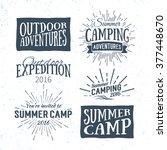 vintage summer camp badges and... | Shutterstock .eps vector #377448670
