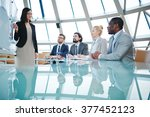 listening to speaker | Shutterstock . vector #377452123