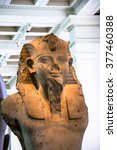 Small photo of LONDON, UK - JUNE 4, 2015: British Museum. Egyptian seated statue of Amenhotep III or Amenophis III. About 1400BC. Amenhophis III was first Pharaoh to be worshipped as a god in his own lifetime.