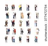 corporate teamwork many... | Shutterstock . vector #377472754