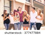 group of young best friends... | Shutterstock . vector #377477884