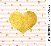 heart love gold watercolor... | Shutterstock .eps vector #377493223