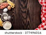 kitchen table with utensils and ... | Shutterstock . vector #377496016