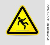 wet floor warning sign.... | Shutterstock .eps vector #377497600