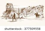 american wild west desert with...   Shutterstock .eps vector #377509558