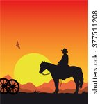 cowboy with horse at sunset  ... | Shutterstock .eps vector #377511208