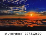 Stock photo beautiful sunrise in the mountains is covered by fogy morning south korea 377512630
