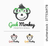 geek monkey logo template.... | Shutterstock .eps vector #377536978