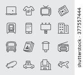 advertising media line icon   Shutterstock .eps vector #377557444