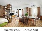interior studio apartments ... | Shutterstock . vector #377561683