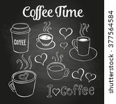 coffee doodles on a chalkboard. ... | Shutterstock .eps vector #377564584
