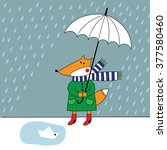 orange fox with umbrella in the ... | Shutterstock . vector #377580460