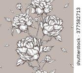 peony flowers seamless pattern | Shutterstock .eps vector #377582713