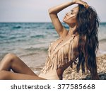 outdoor fashion portrait of... | Shutterstock . vector #377585668