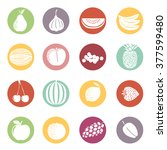 fruit icons in color circles.... | Shutterstock .eps vector #377599480