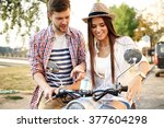 couple in love riding a... | Shutterstock . vector #377604298