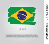 brazil flag with colored hand... | Shutterstock .eps vector #377615500