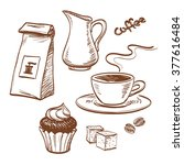 sketch coffee set isolated on...   Shutterstock .eps vector #377616484